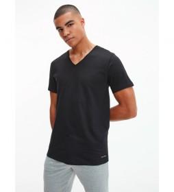 Pack de 3 Camisetas Cuello V negro
