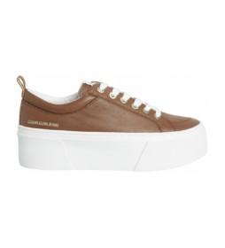 Zapatillas de piel Vulcanized marrón -Altura plataforma: 5,6cm-