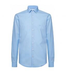 Camisa Slim de popelín elástico celeste
