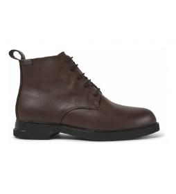 Zapatillas de piel K400526 marrón