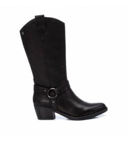 Botas de piel  067385 negro  -altura tacón: 5cm-