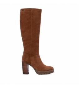 Botas de piel 067956 marrón -tacón 9 cm-
