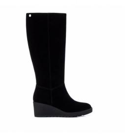 Botas de piel 068115 negro -Altura de la cuña: 7cm-