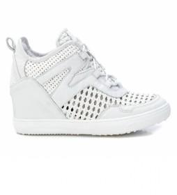 Zapatillas de piel 067369 blanco -Altura cuña: 6cm-