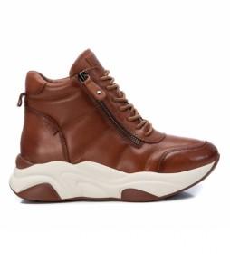 Zapatillas botín de piel 067969 marrón