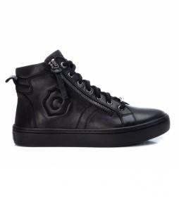 Zapatillas botín de piel negro