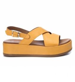 Sandalias de piel 067116 amarillo -Altura plataforma: 4cm-