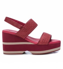 Sandalias de piel 067157 rojo -Altura de la cuña: 10 cm-