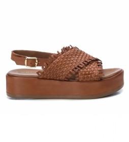 Sandalias de piel 067298 marrón -Altura suela: 4cm-