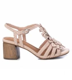 Sandalias de piel 067335 nude -Altura del tacón: 7 cm-