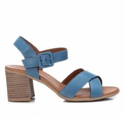 Sandalias de piel 067340 azul -Altura del tacón: 7 cm-