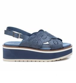 Sandalias de piel 067351 azul -Altura de la cuña: 5 cm-