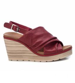 Sandalias de piel 067355 burdeos -Altura cuña: 9cm-