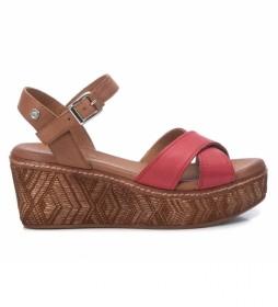 Sandalias de piel 067713 rojo -Altura de la cuña: 7cm-