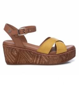 Sandalias de piel 067713 amarillo -Altura de la cuña: 7cm-