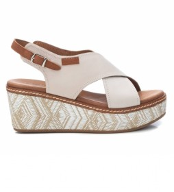 Sandalia de piel 067714 blanco - Altura tacón: 7cm-