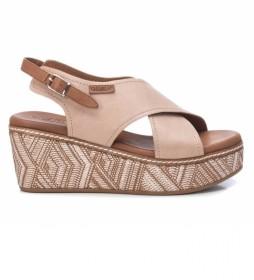 Sandalias de piel 067714 -altura cuña: 7cm-