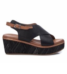 Sandalia de piel 067714 negro - Altura tacón: 7cm-