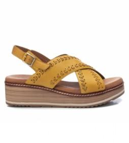Sandalias de piel 067743 amarillo -Altura de la cuña: 5cm-