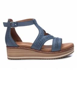 Sandalia de piel 067745 azul -Altura tacón: 5cm -
