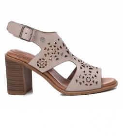Sandalia de piel  067763 blanco, hielo -Altura tacón: 8cm -