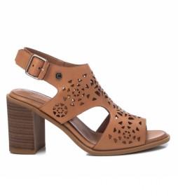 Sandalia de piel  067763 marrón, camel -Altura tacón: 8cm -