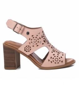 Sandalia de piel  067763 rosa, nude -Altura tacón: 8cm -