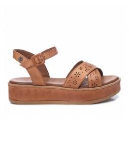 Sandalia de piel 067771 marrón, camel