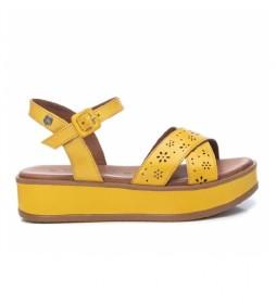Sandalias de piel 067771 amarillo