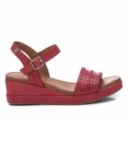 Sandalia de piel 067777 rojo -Altura tacón: 5cm -