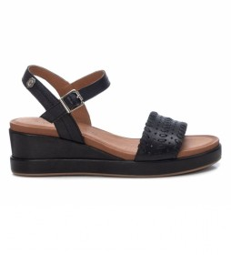 Sandalia de piel 067777 negro -Altura tacón: 5cm -