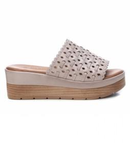 Sandalias de piel 067822 lila hielo -altura cuña: 6cm-