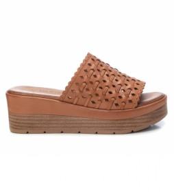 Sandalias de piel 067822 camel -altura cuña: 6cm-