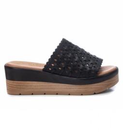 Sandalias de piel 067822 negro -altura cuña: 6cm-