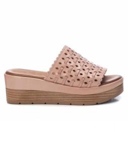 Sandalias de piel 067822 nude  -Altura de la cuña: 6 cm-