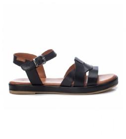 Sandalia de piel 067831 negro