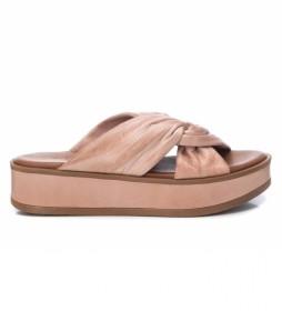 Sandalias de piel 067839 nude -altura cuña: 4cm-