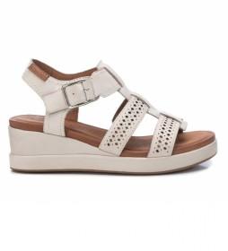 Sandalias de piel 067840 blanco hielo -altura cuña: 5cm-