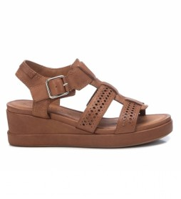 Sandalias de piel 067840 camel -Altura de la cuña: 5 cm-