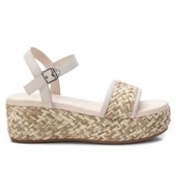Sandalias de piel 067852 blanco -Altura de la cuña: 6 cm-