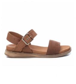 Sandalias de piel 067864 camel
