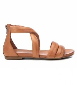 Sandalias de piel 067878 camel