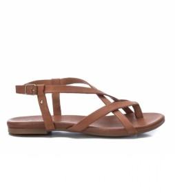 Sandalias de piel 067887 camel