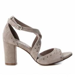Sandalias de piel 066682 taupe -Altura tacón: 8cm-