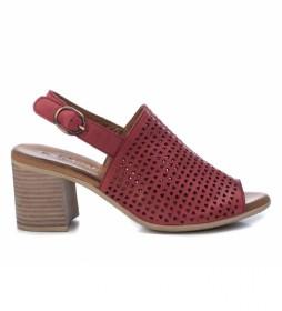Sandalias de piel 067120 rojo -Altura tacón:7cm-