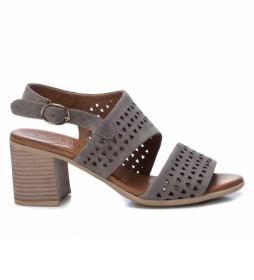 Sandalias de piel 067121 gris -Altura tacón:7cm-