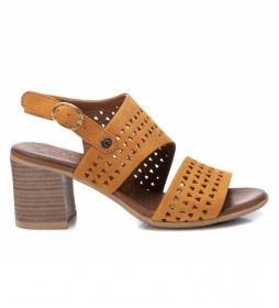 Sandalias de piel 067121 camel -Altura tacón:7cm-