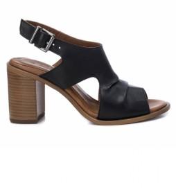 Sandalias de piel 067128 negro -Altura tacón: 8cm-