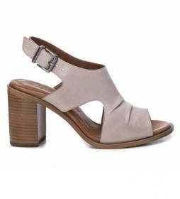 Sandalias de piel 067128 beige -Altura tacón: 8cm-