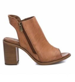Sandalias de piel 067131 camel -Altura tacón 8cm-